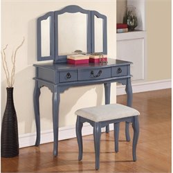 Poundex Bobkona Susana Mirror Vanity Table with Stool Set in Gray