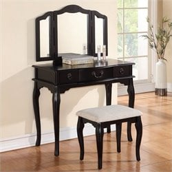 Poundex Bobkona Susana Mirror Vanity Table with Stool Set in Black