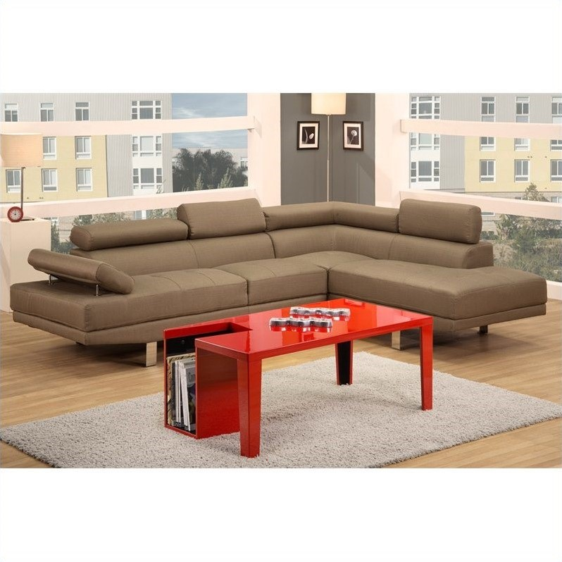 poundex bobkona vegas 2 piece sectional sofa in light tan With vegas 2 piece sectional sofa