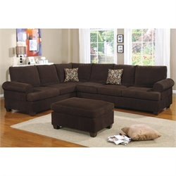 Poundex Bobkona Dyson Corduroy Sectional Sofa in Chocolate