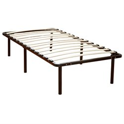 Twin Wood Slat and Metal Bed Frame in Black