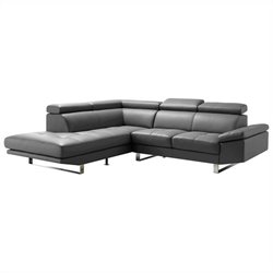 Moe's Andreas Left Leather Sectional in Gray