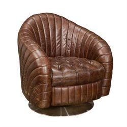 Moe's Geneva Tufted Leather Barrel Club Chair in Brown
