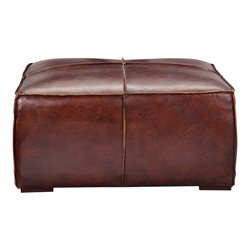 Moe's Stamford Leather Ottoman Coffee Table in Brown