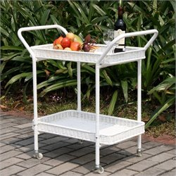 Jeco Wicker Patio Serving Cart in White