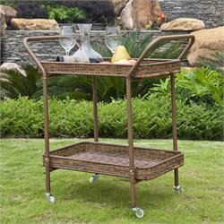 Jeco Wicker Patio Serving Cart in Honey