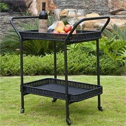 Jeco Wicker Patio Serving Cart in Black