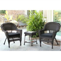 Jeco 3pc Wicker Chair and End Table Set in Espresso