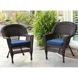 Jeco Wicker Chair in Espresso (Set of 2)
