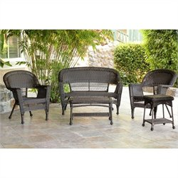 Jeco 5pc Wicker Conversation Set in Espresso II