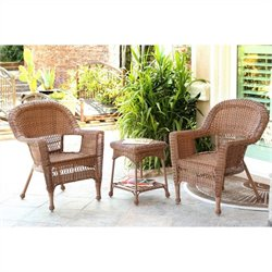 Jeco 3pc Wicker Chair and End Table Set in Honey