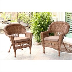 Jeco Wicker Chair in Honey (Set of 2)