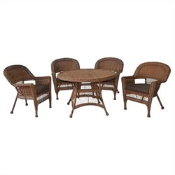5 Piece Wicker Dining Set in Honey