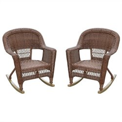 Jeco Wicker Rocker Chair in Honey IV (Set of 2)