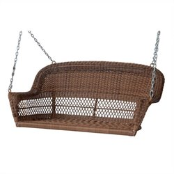 Honey Wicker Porch Swing