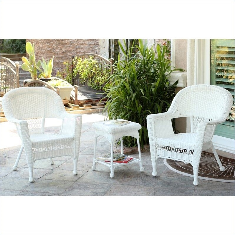Jeco 3 piece wicker conversation set in white without for Outdoor furniture without cushions