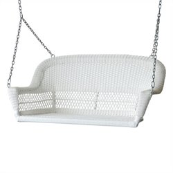 Wicker Porch Swing in White