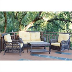 Jeco 4pc Cromwell Wicker Conversation Set in Espresso II