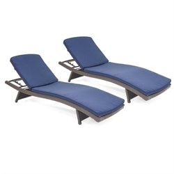 Adjustable Chaise Lounger in Espresso (Set of 2)