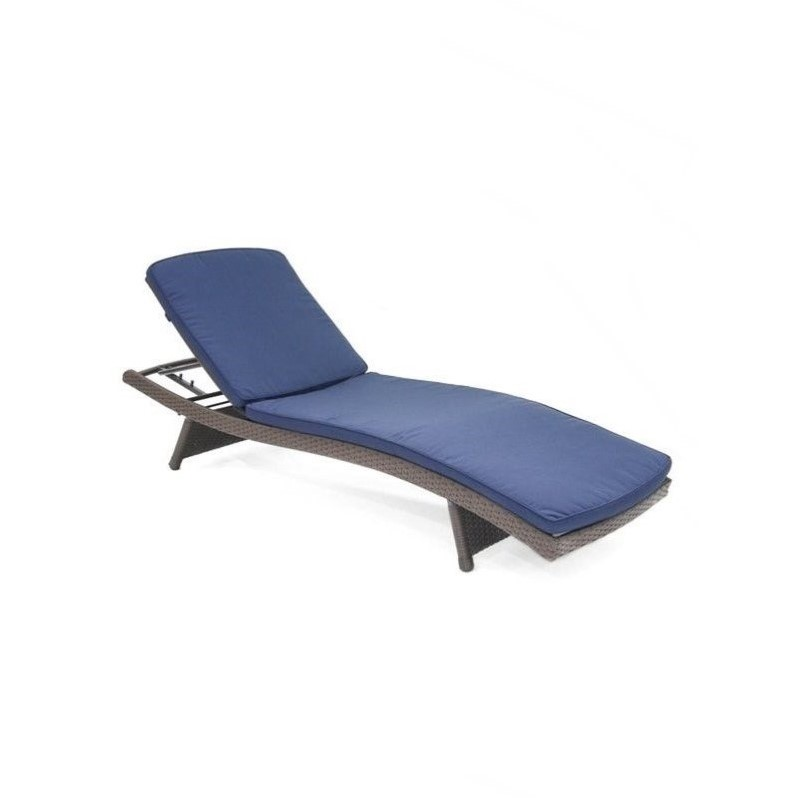 Jeco wicker adjustable chaise lounger in espresso with for Blue chaise cushions