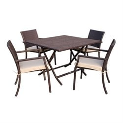 5 Piece Wicker Table Dining Set Square Back