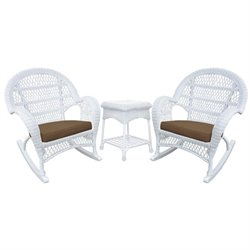 Rocker Wicker Chair 3 Piece Set in White