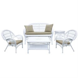 Wicker 5 Piece Conversation Set in White