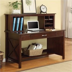 Desk And Hutch In Mocha Finish