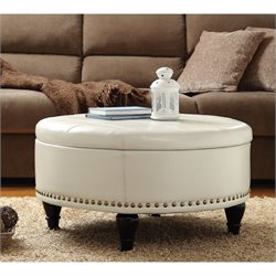 Augusta Storage Leather Ottoman in Cream