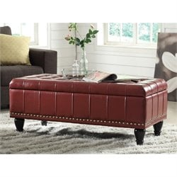 Caldwell Storage Leather Ottoman in Crimson Red