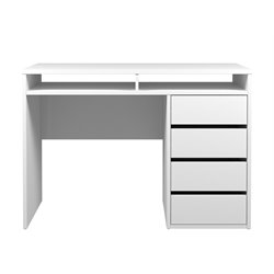 4 Drawer and 2 Shelf Computer Desk in White High Gloss