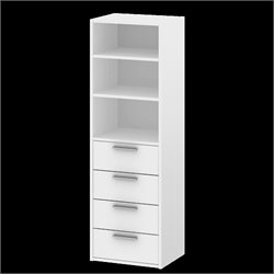 4 Drawer and 3 Shelf Bookcase in White