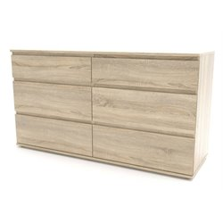 6 Drawer Double Dresser in Oak Structure