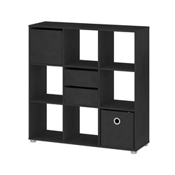 9 Shelf Bookcase with Door and Drawers in Black Woodgrain