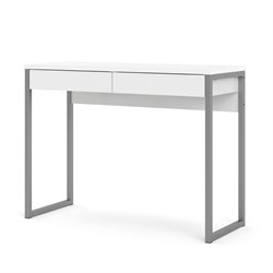 2 Drawer Computer Desk in White High Gloss