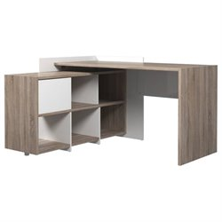 Computer Desk with 6 Shelf Bookcase in Truffle and White