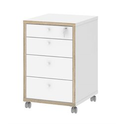 4 Drawer Mobile File Cabinet in White and Oak Structure