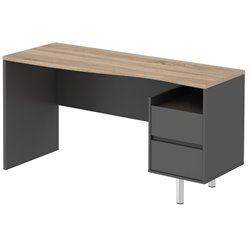 Tvilum Walter 2 Drawer Computer Desk in Gray and Oak