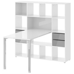 Tvilum Wright Writing Desk and 13 Shelf Bookcase in White and Truffle
