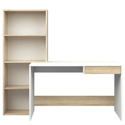 Tvilum Whitney Writing Desk with 4 Shelf Bookcase in White and Oak