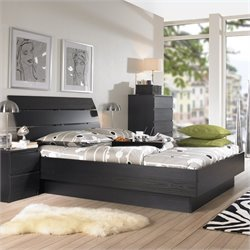 Platform Bed in Black Woodgrain