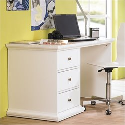 Three Drawer Desk in White