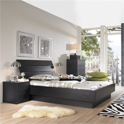 Platform 3 Piece Bedroom Set in Black Woodgrain