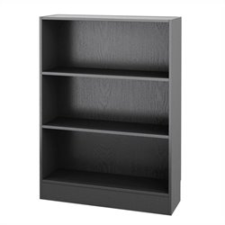 Short Wide 3 Shelf Bookcase in Black Wood Grain
