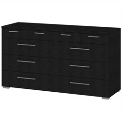 10 Drawer Dresser in Black Wood Grain