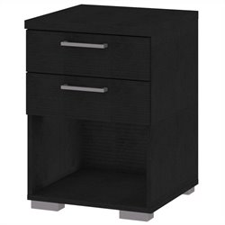 2 Drawer Nightstand in Black Wood Grain