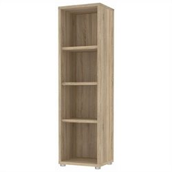 4 Shelf Narrow Bookcase in Oak Structure
