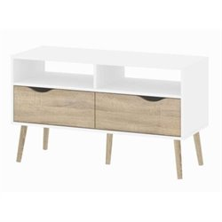 2 Drawer TV Stand in White Oak