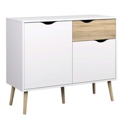 2 Door Sideboard with 1 Drawer in White Oak