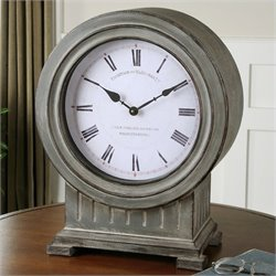 Uttermost Chouteau Mantel Clock in Antiqued Dusty Gray